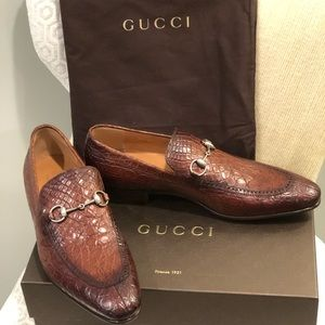 Gucci Men's Crocodile Horsebit Loafer, Size 11